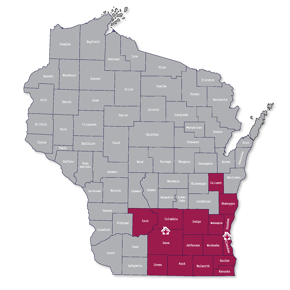 Counties map of Wisconsin. Contact your closest office for information.